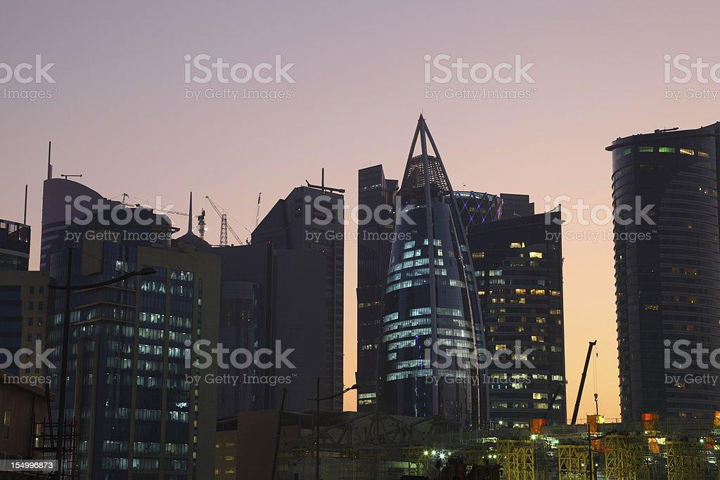 Doha at night, Qatar stock photo