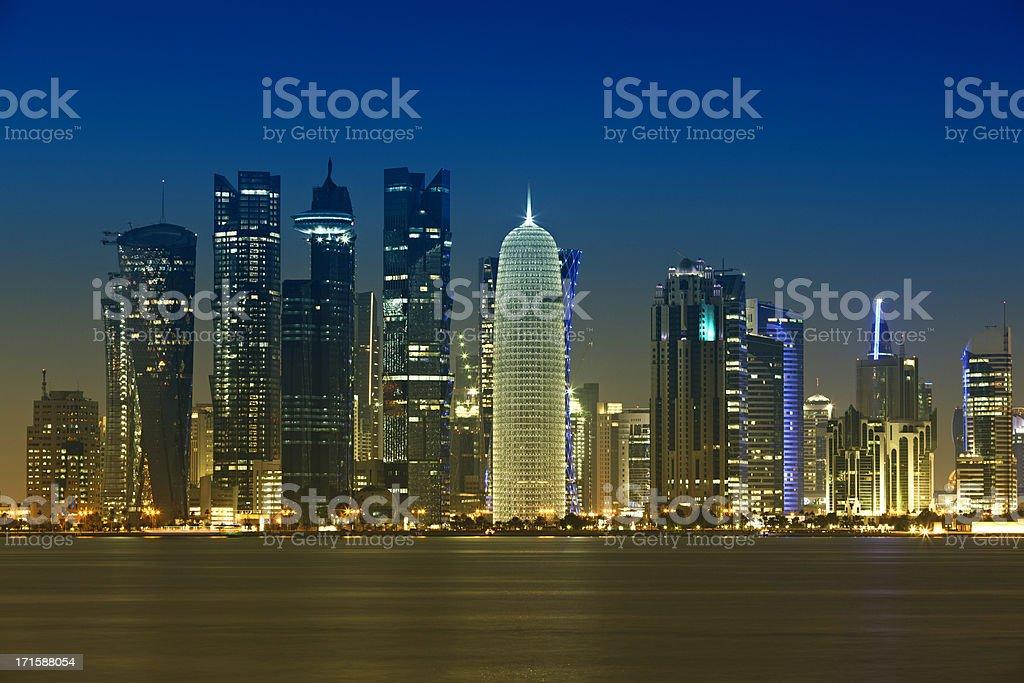 doha bay district skyline royalty-free stock photo