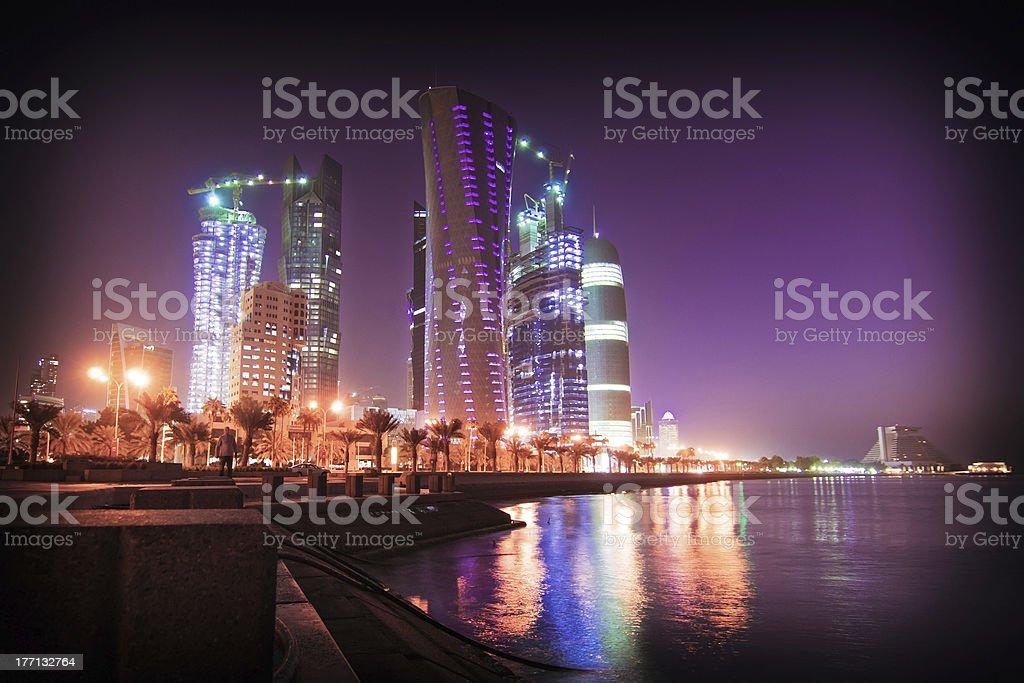 Doha bay new district at night stock photo