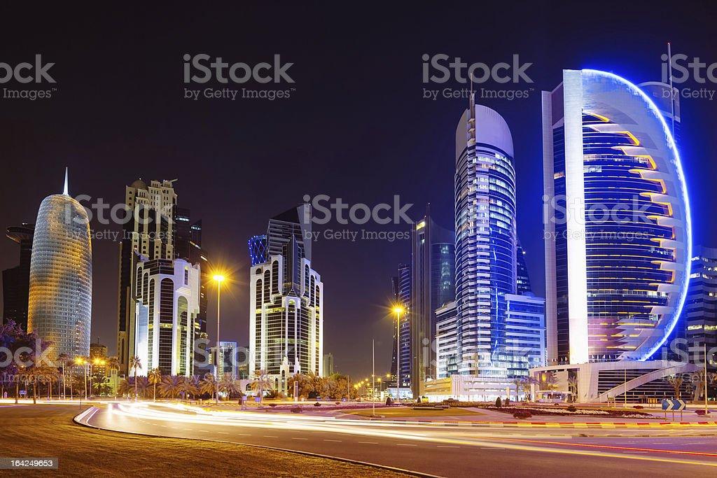 Doha City at Night Qatar Skyscrapers royalty-free stock photo