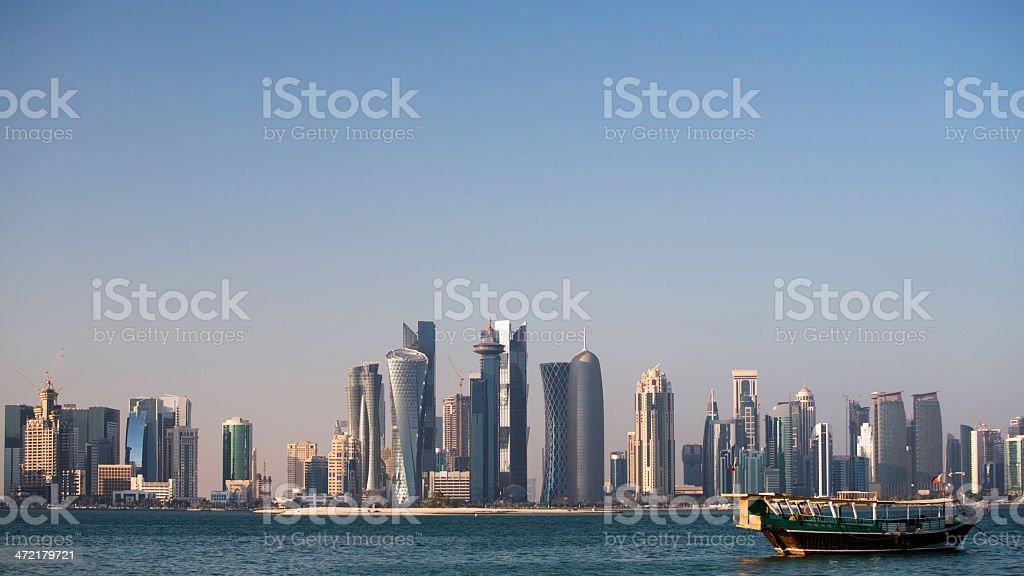 Doha City Qatar at sunrise royalty-free stock photo