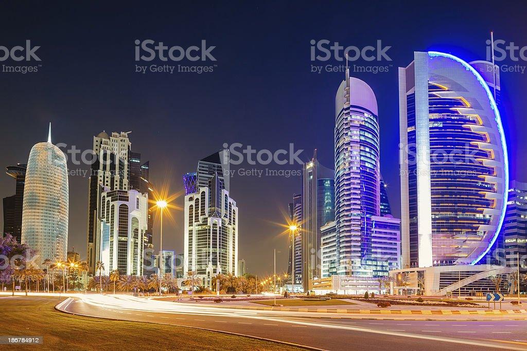 Doha City Qatar Skyscrapers Night Scene royalty-free stock photo