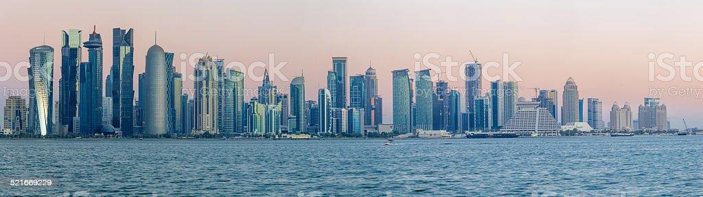 Doha Cornice Towers Panorama stock photo