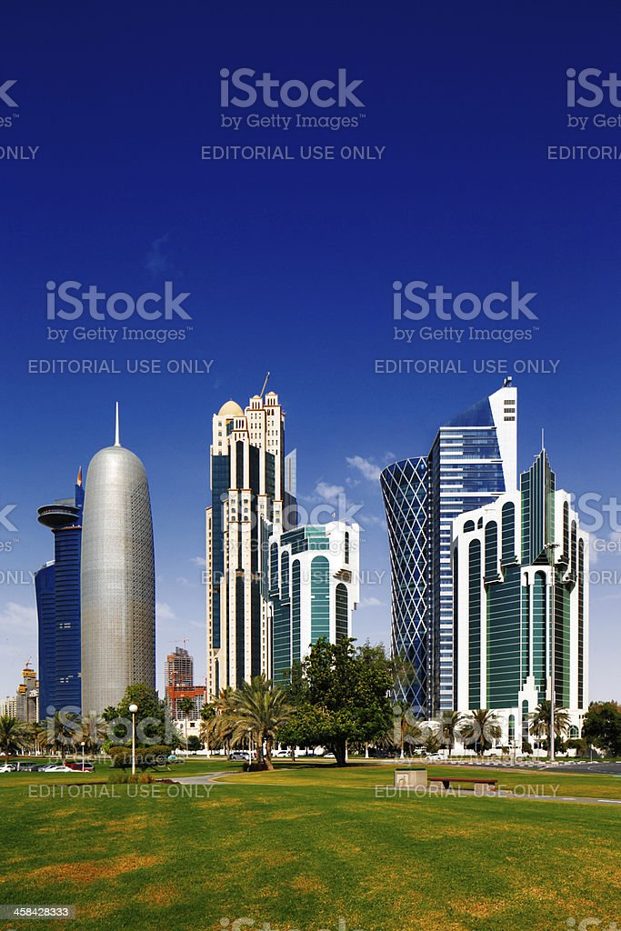 Doha Corniche, also known as the West Bay District, Qatar royalty-free stock photo