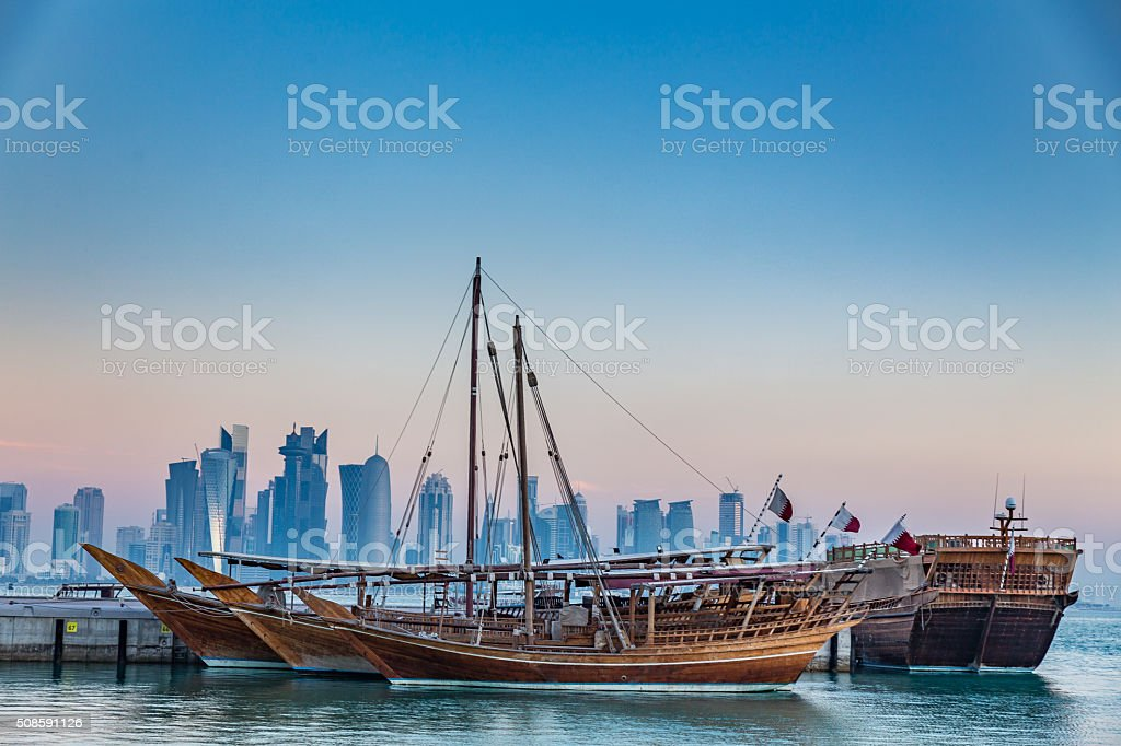Doha Corniche in the early morning stock photo