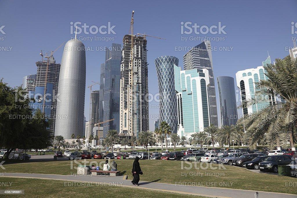 Doha downtown, Al Dafna stock photo