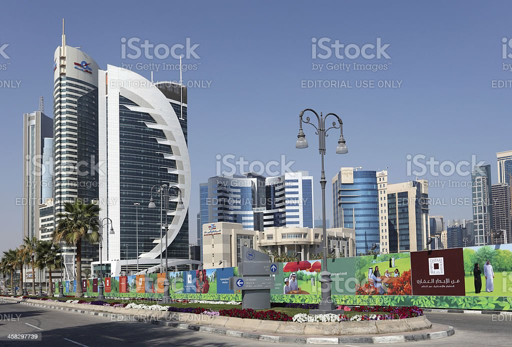 Doha Downtown Al Dafna stock photo