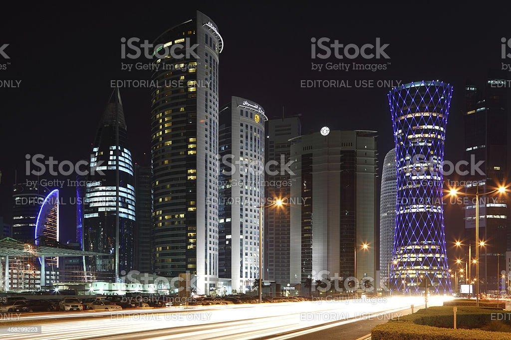 Doha downtown at night, Qatar royalty-free stock photo