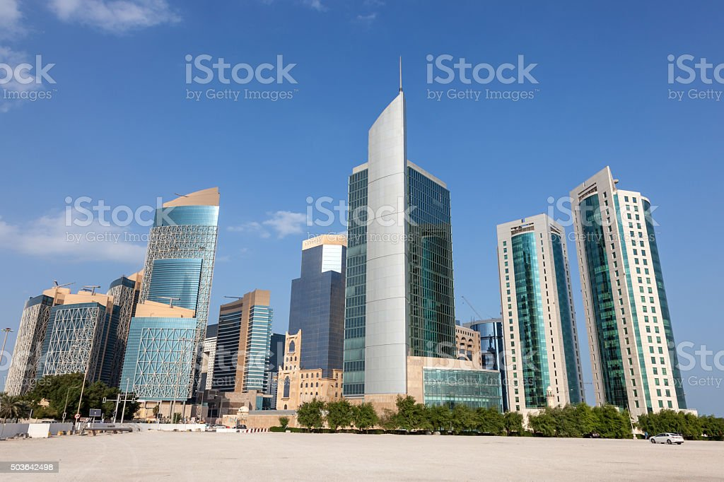 Doha downtown buildings, Qatar stock photo