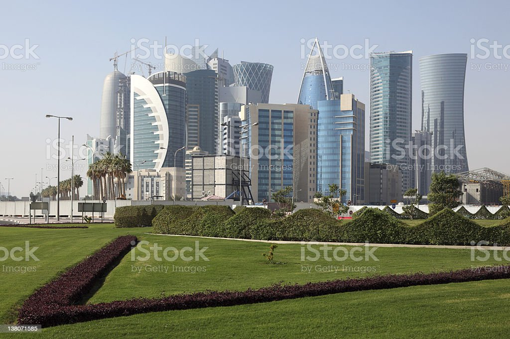 Doha downtown district, Qatar stock photo