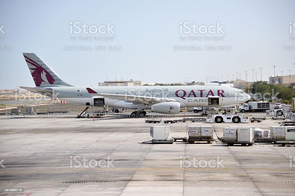 Doha, Qatar - Mar 21 2014: Qatar Airways stock photo