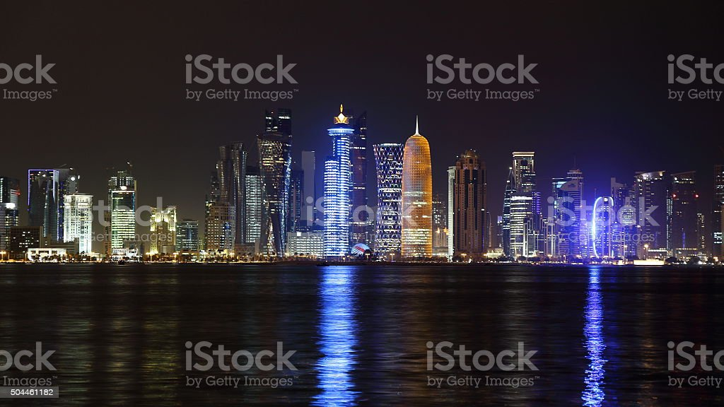 Doha, Qatar. Night skyline. stock photo