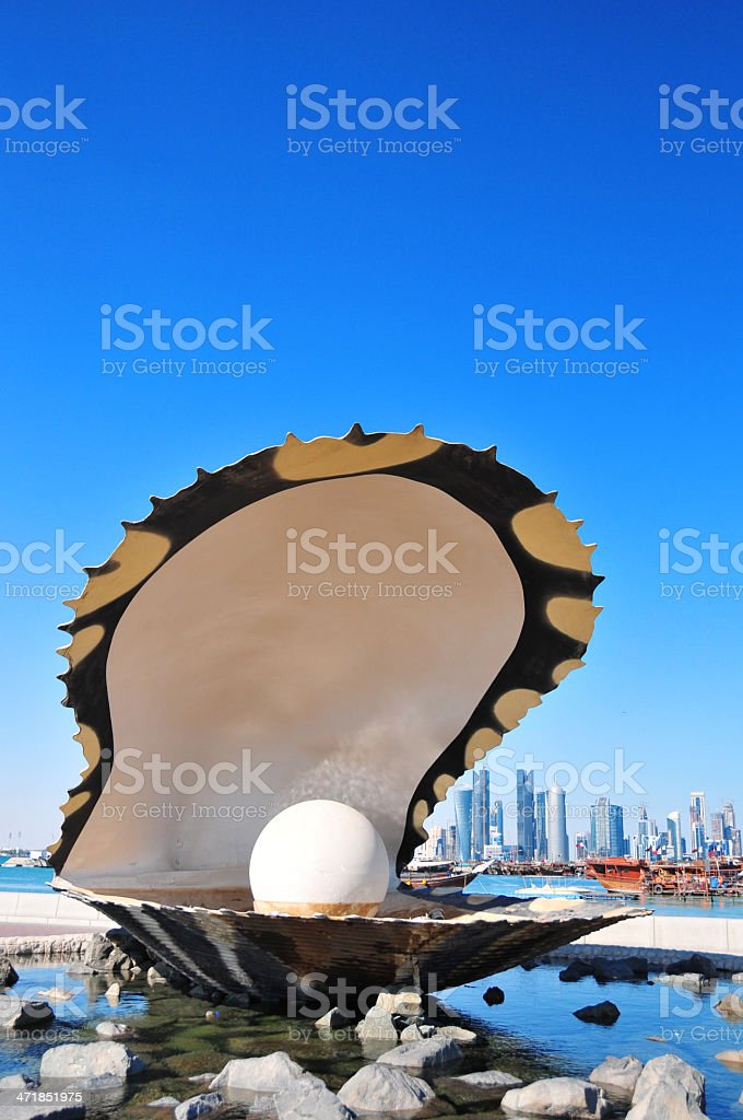 Doha, Qatar: Pearl and Oyster Fountain stock photo