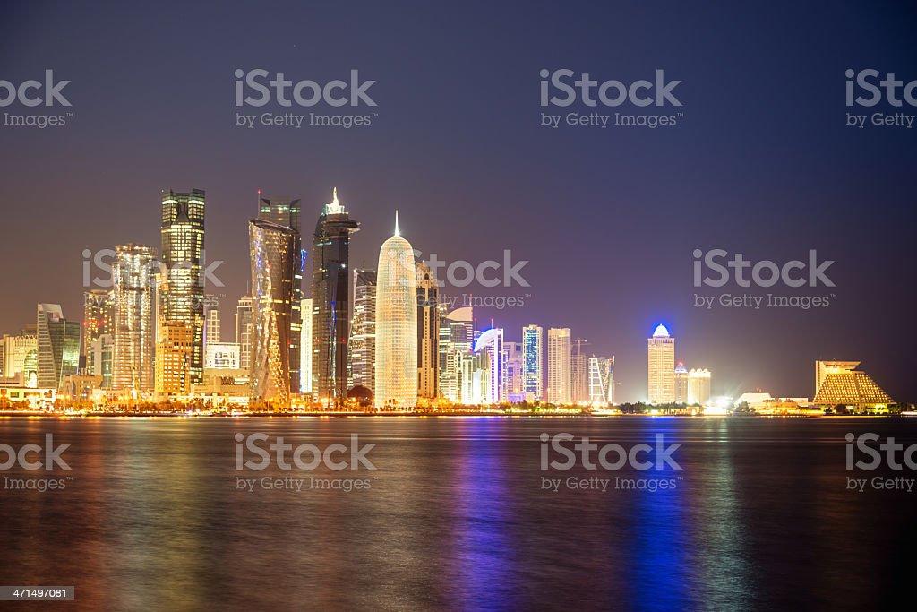 Doha Qatar Skyline at Night royalty-free stock photo