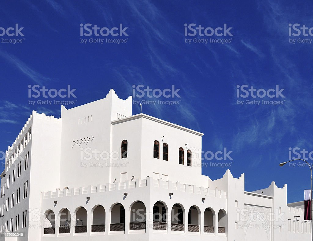 Doha, Qatar: white building containing the Amphitheater of Souq Waqif stock photo