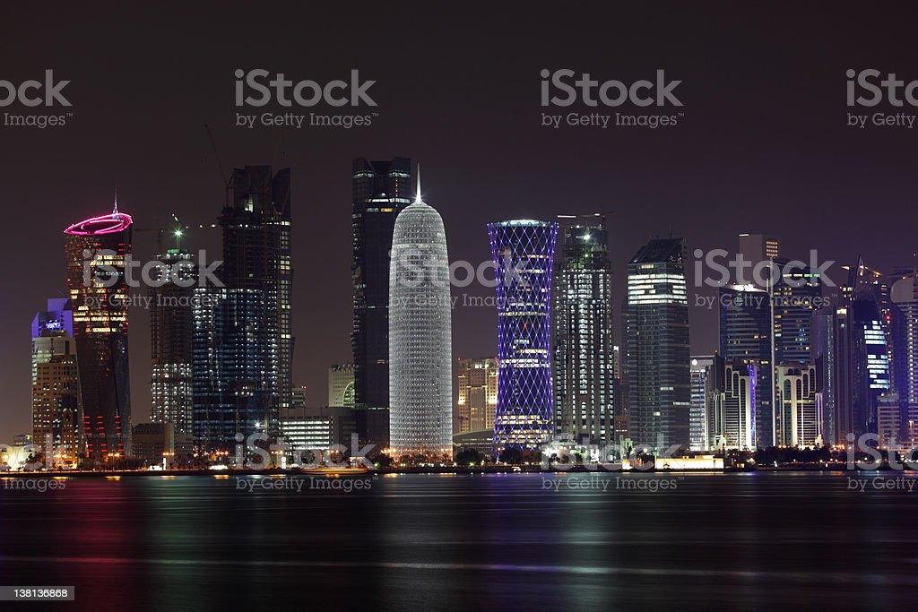 Doha skyline at night stock photo