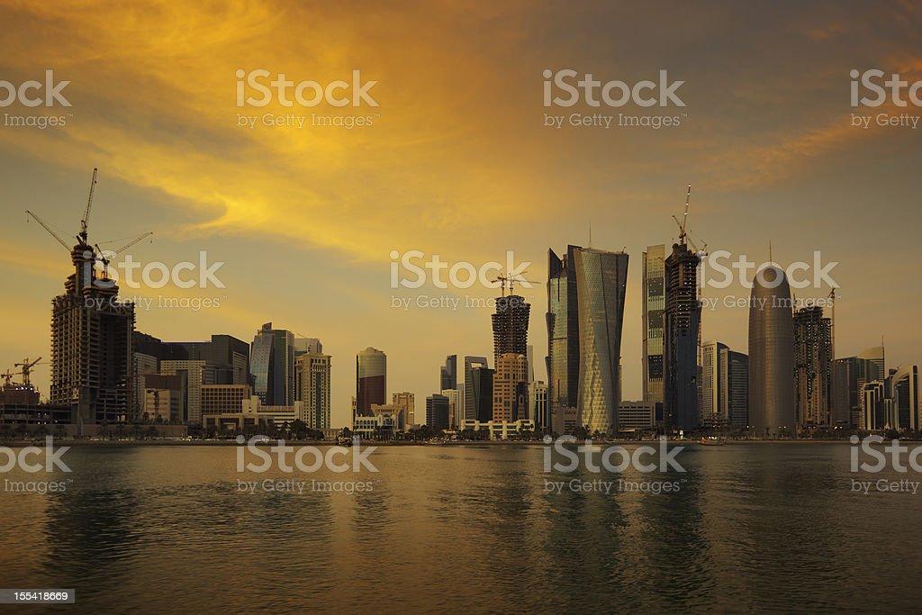 Doha skyline at sunset stock photo