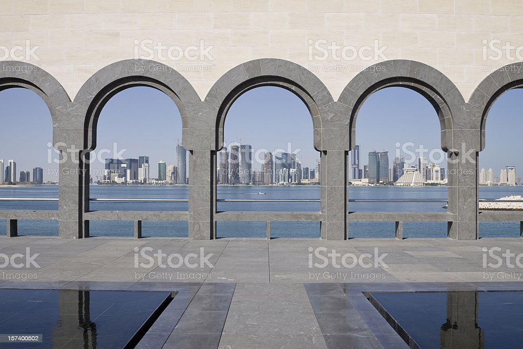 Doha Skyline framed stock photo