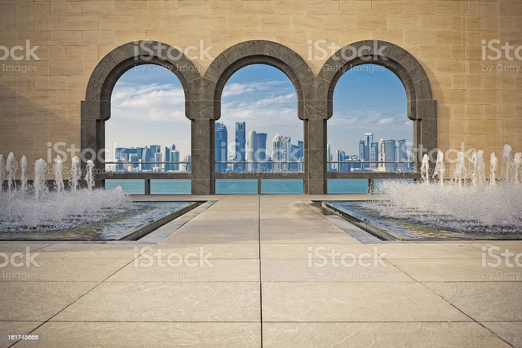 Doha Skyline framed stock photo