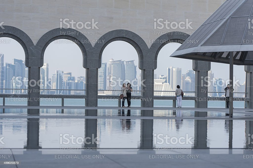 doha skyline seen from the islamic museum stock photo