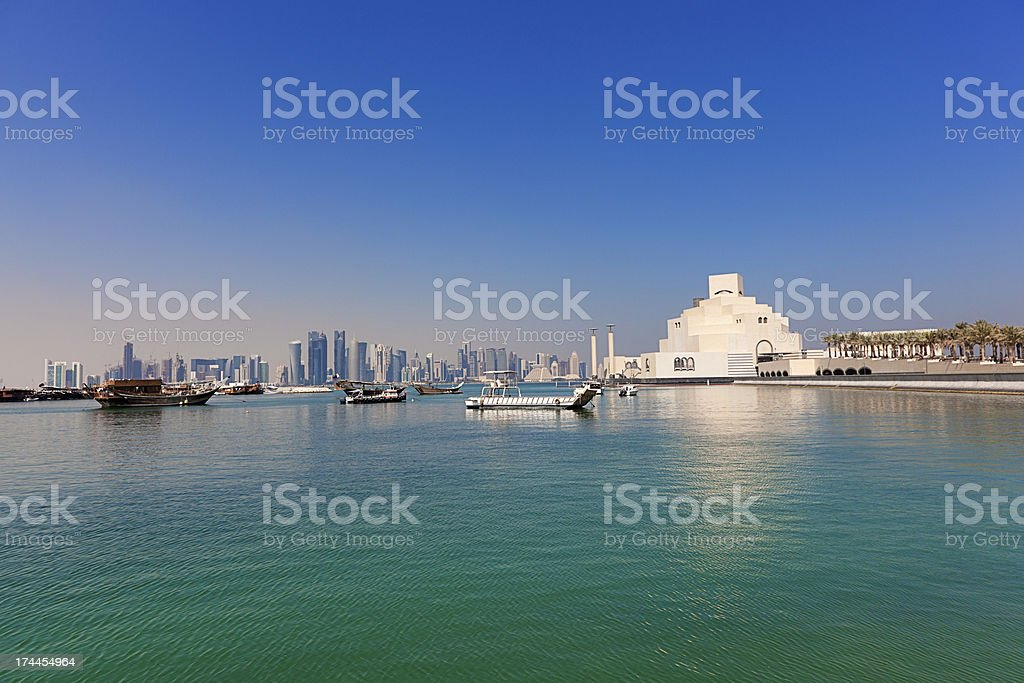 doha skyline view stock photo
