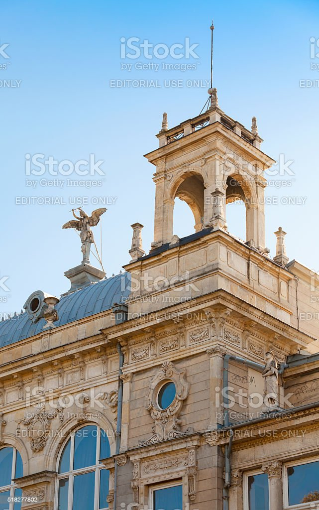 Dohodno Zdanie is a Neoclassical edifice in Ruse stock photo