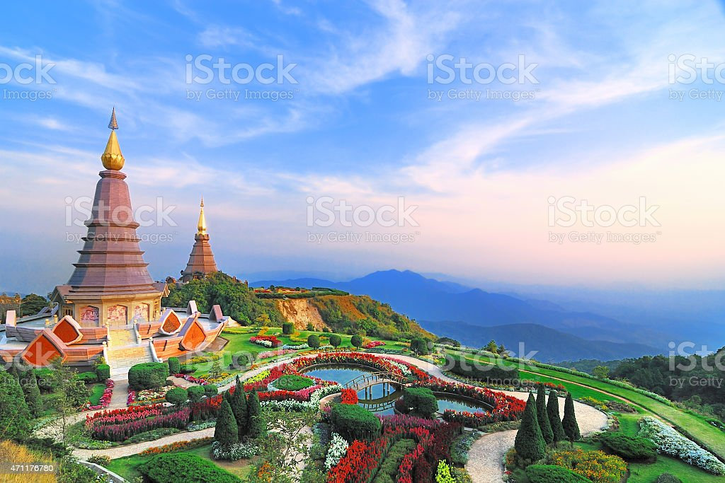 Doi Inthanon National park , Sunset at Doi Inthanon view point, stock photo