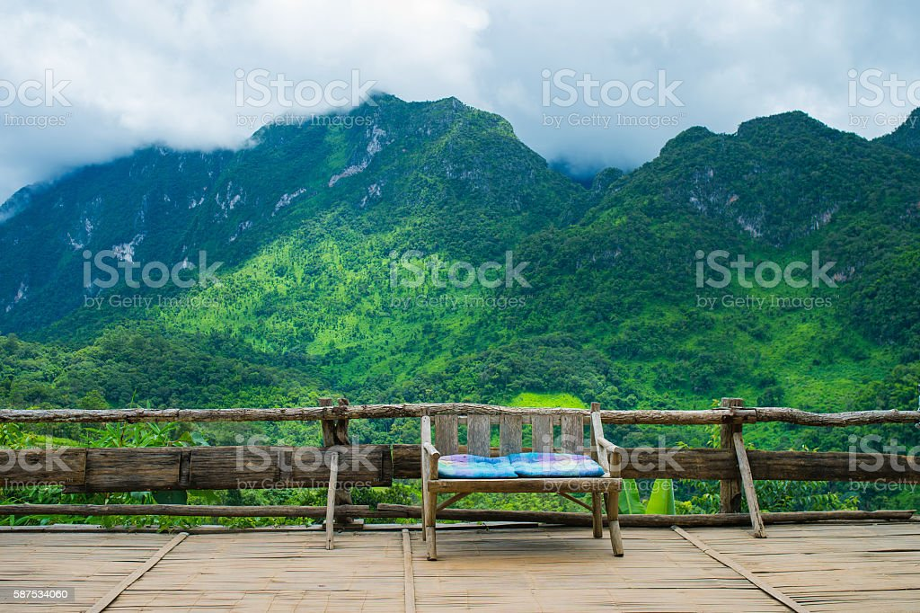 Doi Luang Chiang Dao with rain fog the big mountain stock photo