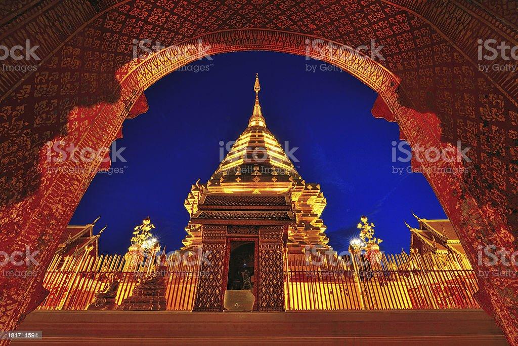 Doi su thep temple at night stock photo