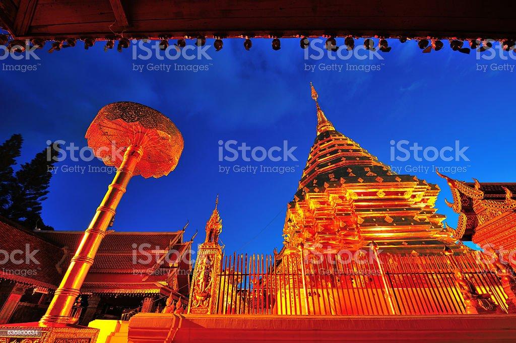 Doi Suthep golden pagoda temple beautiful twilight Chiangmai Tha stock photo