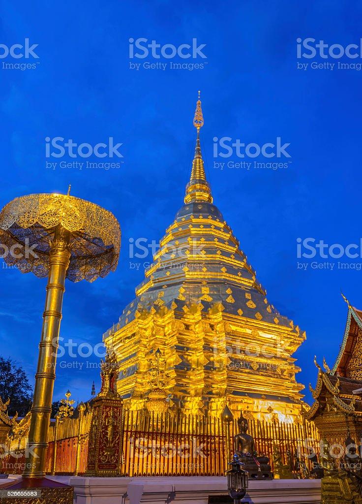 Doi Suthep temple at twilight, landmark of Chiang Mai, Thailand stock photo