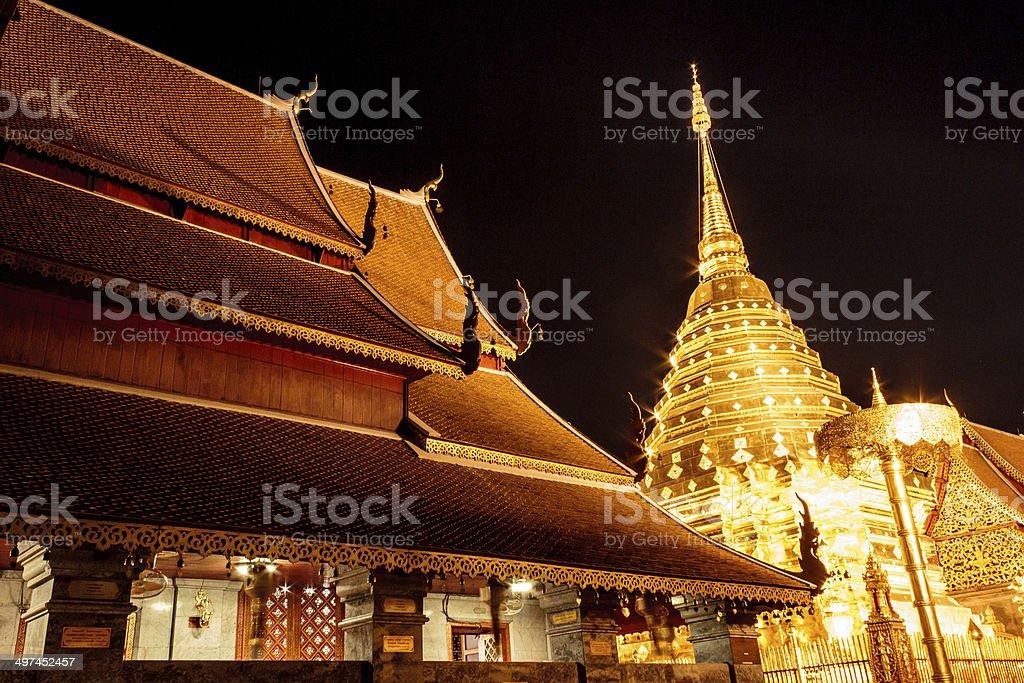 Doi Suthep temple in Chiang Mai at night stock photo