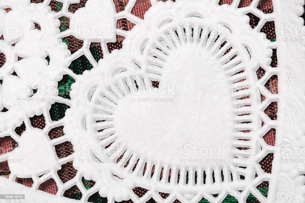 Doily Heart Close-up on Plaid royalty-free stock photo