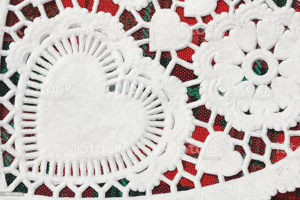 Doily Heart Close-up on Red Plaid stock photo