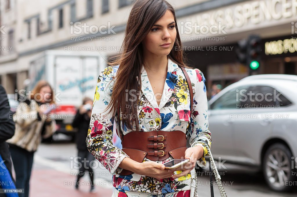 Doina Ciobanu attend to Erdem show during London Fashion Week stock photo