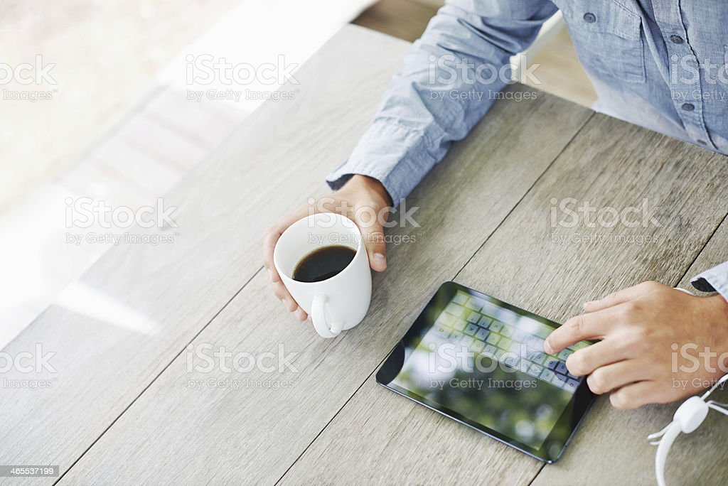 Doing a little browsing online royalty-free stock photo
