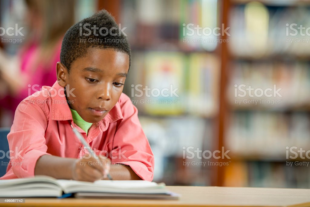 Doing an Assignment in the Library stock photo