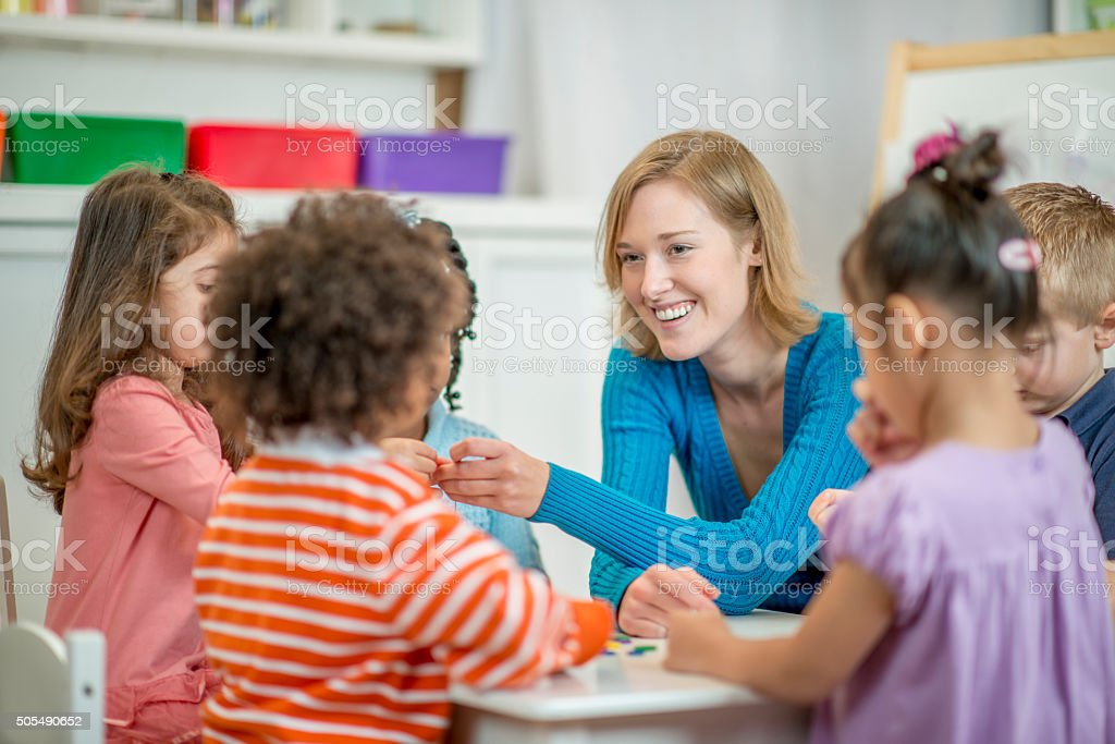 Doing Arts and Crafts in Class stock photo