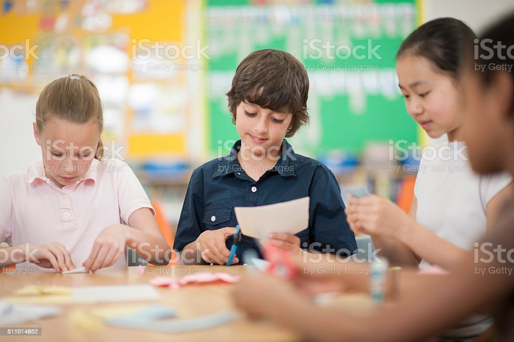 Doing Arts and Crafts stock photo