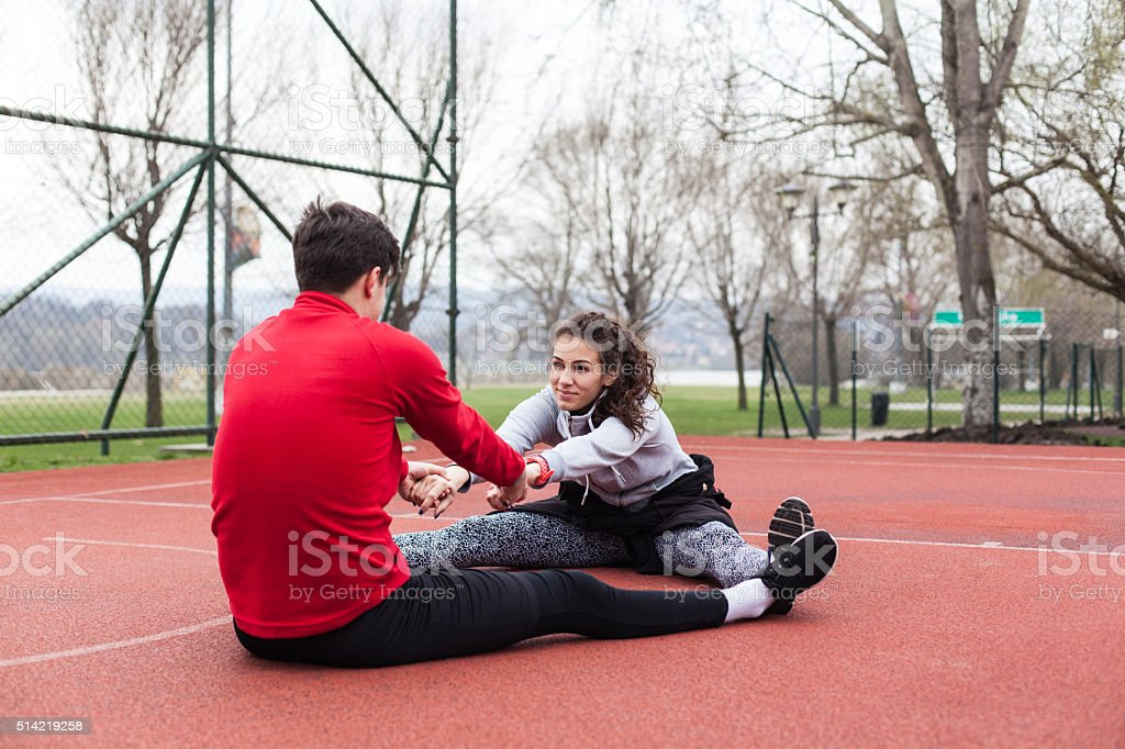 Doing fitness outdoors stock photo