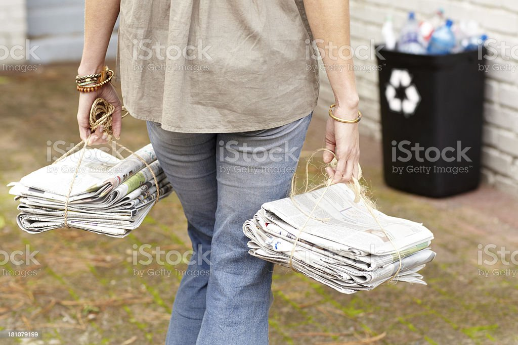 Doing her part to help the environment royalty-free stock photo