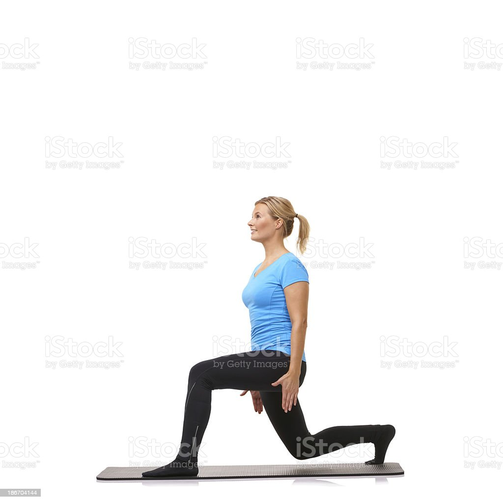 Doing her workout routine royalty-free stock photo