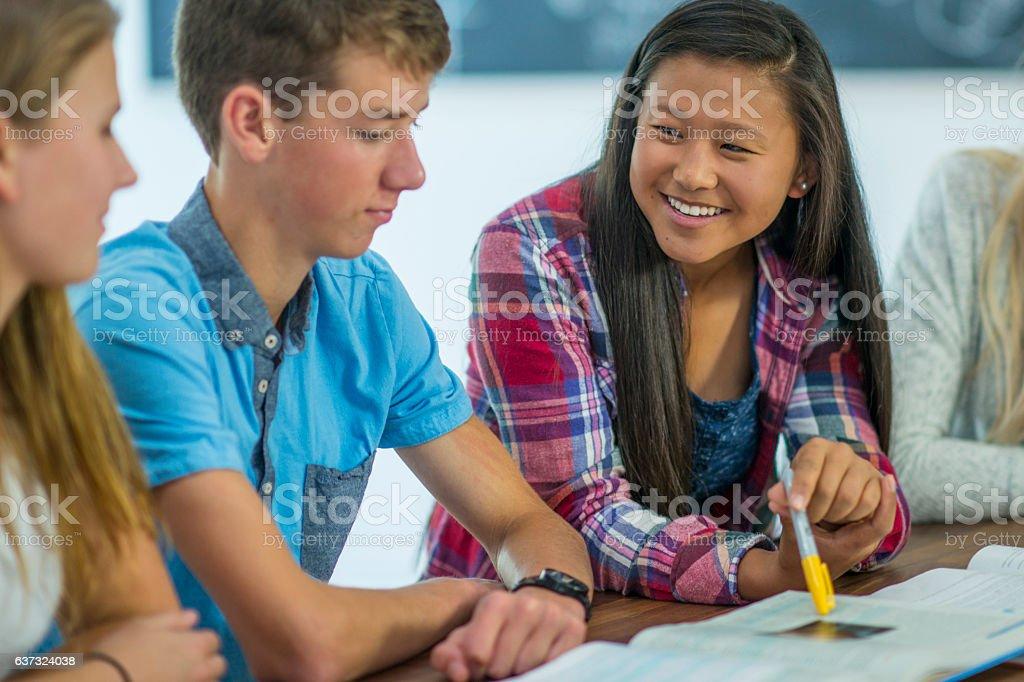 Doing Homework After Class stock photo