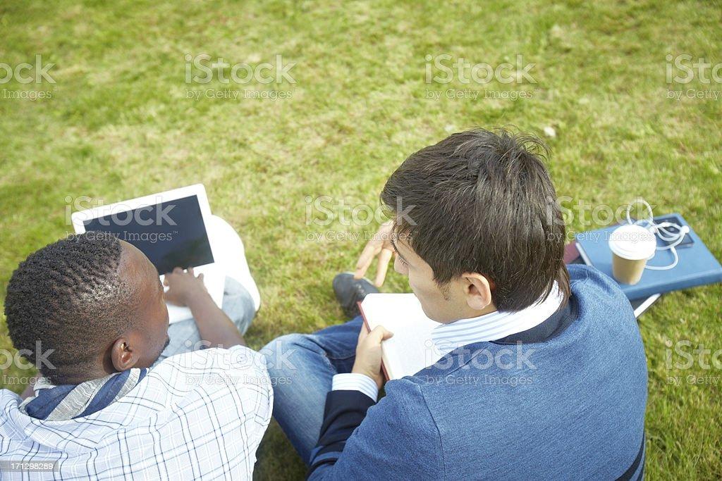 Doing homework outdoors royalty-free stock photo