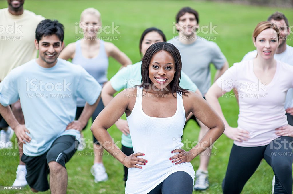 Doing Lunges at the Park stock photo