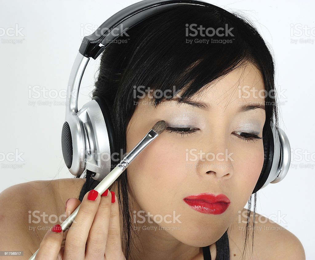 doing make-up royalty-free stock photo