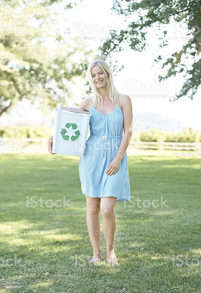 Doing my part for our planet's future royalty-free stock photo