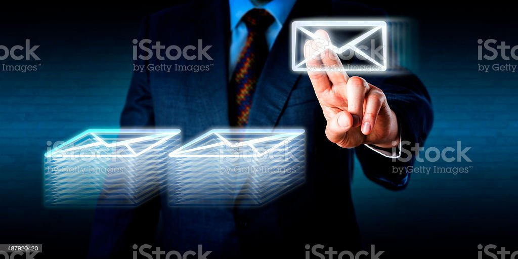 Doing Overtime Stacking Many Emails In Cyberspace stock photo