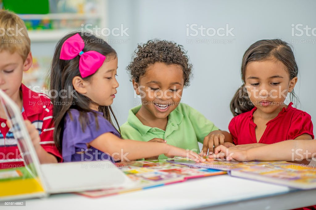 Doing Puzzle Books in Class stock photo