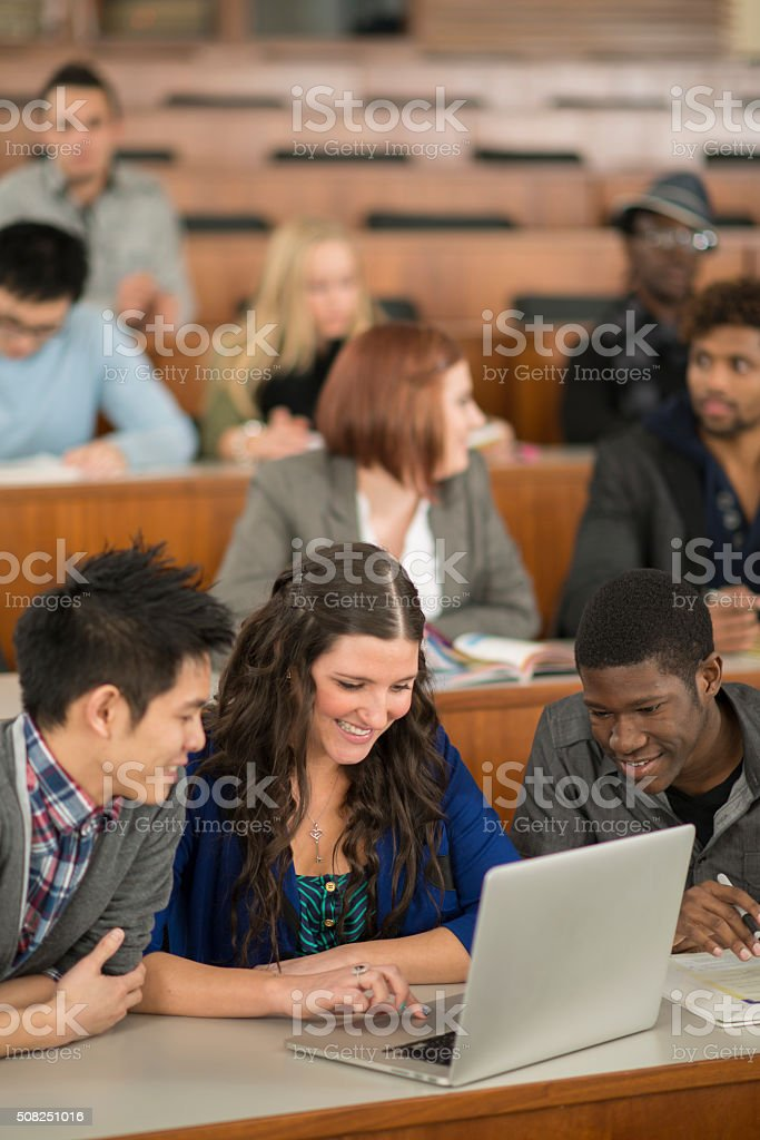 Doing Research on a Laptop stock photo